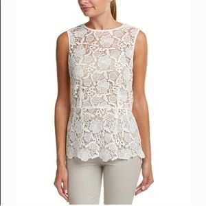 CAbi needle lace peplum open crochet top